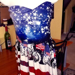 NEW Patty Candy Red White Blue Strapless XL